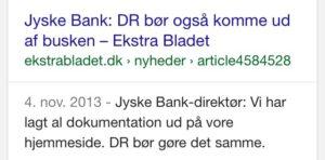 Skal vi ligge alt frem som jyske bank selv beder Danmarks radio om