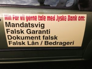 Kære jyske Bank min far vil så gerne tale med jyske bank om. Mandatsvig hæve med uret, falsk garanti til Nykredit, ændre i aftaler som er lukket og laver selv ny aftale uden aftale med kunde, falsk lån i Nykredit på 4,328.000 kr. Samt bedrageri hvilket er øverst på anklage af jysk bank, læs hele historien om jysk den danske bank jyske bank i dagbogen