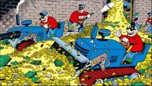Bande medlemmer i jyske Banks penge tank, skovler bytte sammen