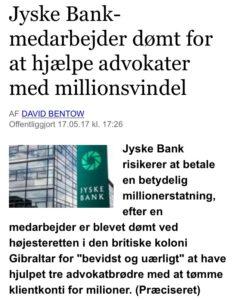 Jyske bank dømt for at hjælpe advokater med million svindel
